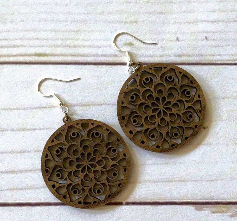 Boho walnut wood mandala circle earrings
