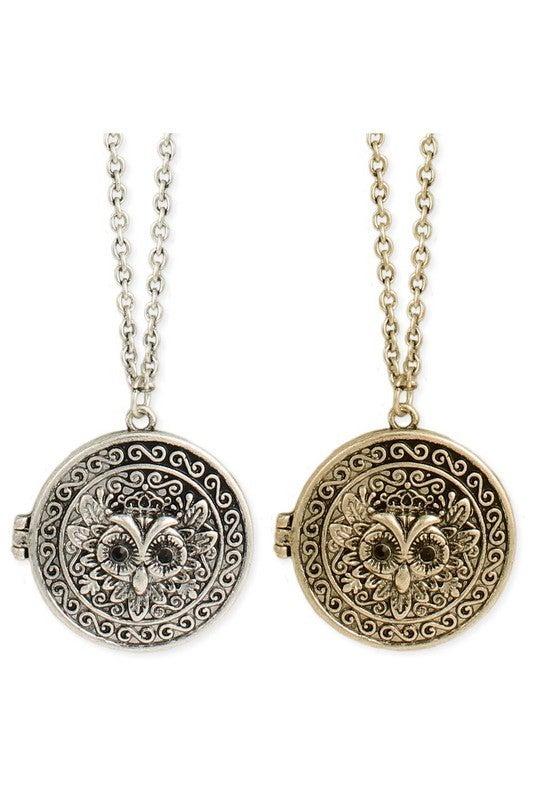 Vintage-inspired owl locket necklace