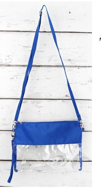 Clear Crossbody Bag with Blue trim