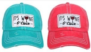 'It's Wine O'Clock' distressed hat