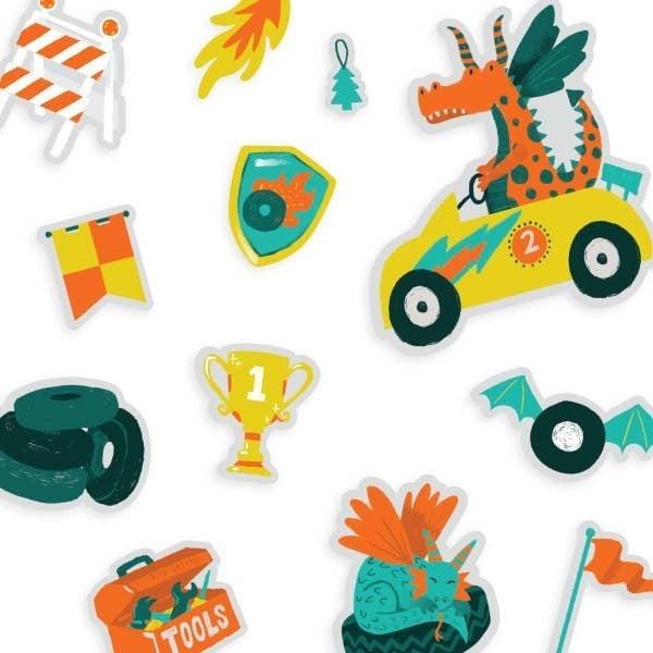 'Play Again!' Reusable Sticker Scenes: Dragon Racetrack