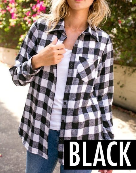 Plaid fleece lined flannel shirt