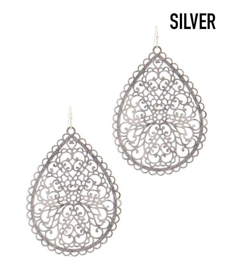 Filigree tear drop shaped earrings