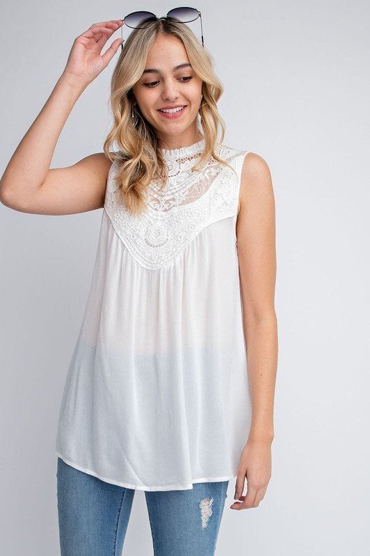 Boho Crochet Laced Sleeveless Top