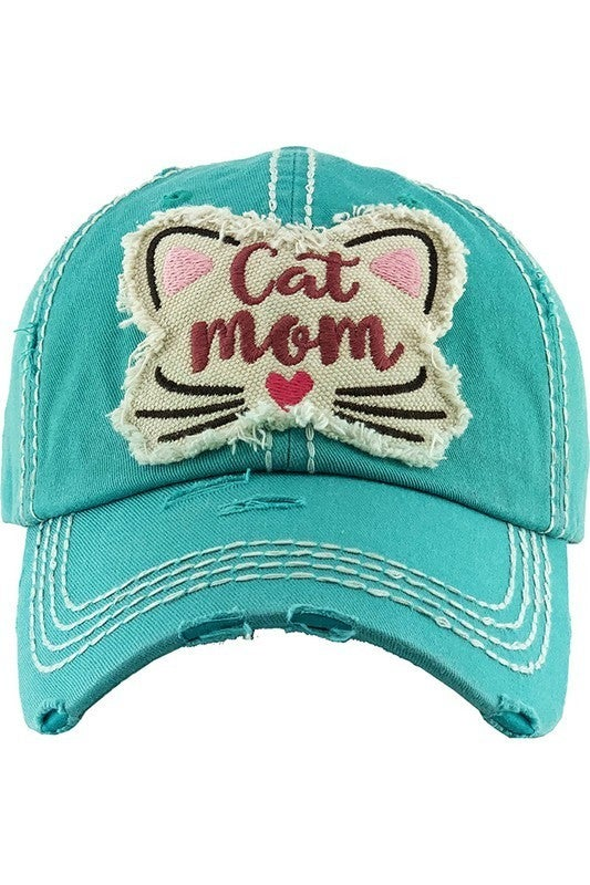 'Cat Mom' distressed hat