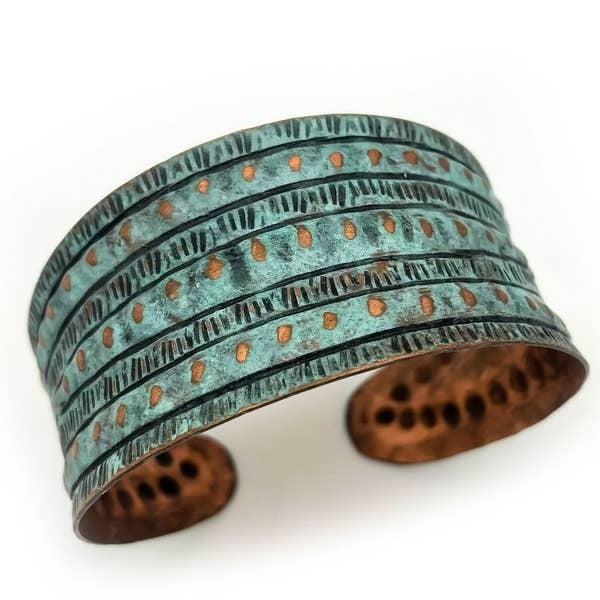 Rivet Stripes Copper Patina Bracelet : Anju