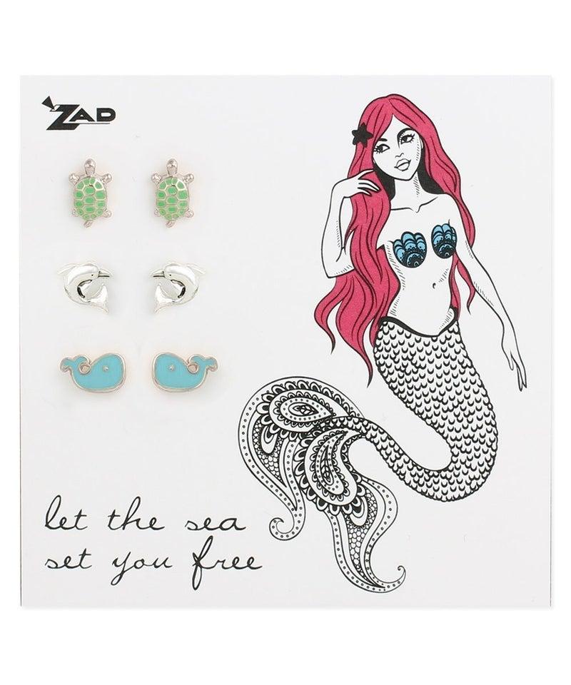 Set of 3 sea creature post earrings