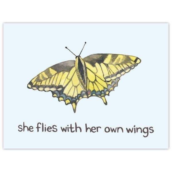 'She flies with her own wings' Butterfly encouragement card