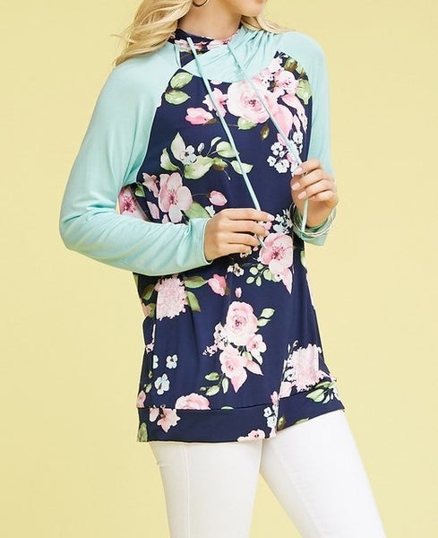 'Mint to Be' Two-toned floral hoodie