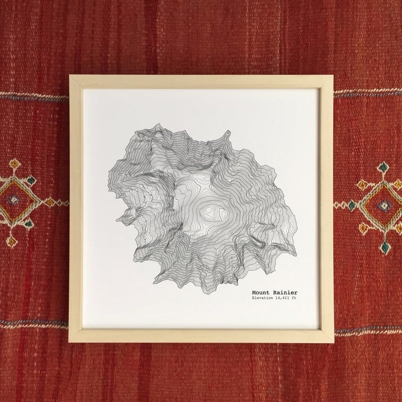 12'' x 12'' Mount Rainier WA Art Print Topographic Map