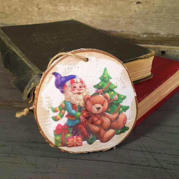 """Elf with teddy bear and tree wooden painted ornament, 3.75"""""""