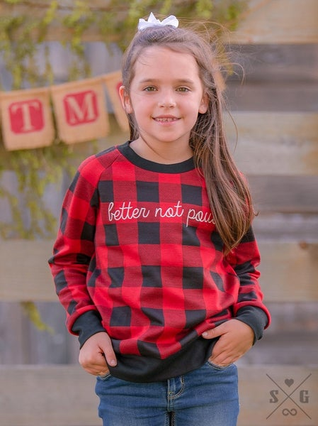 KIDS Better Not Pout Buffalo Plaid Top