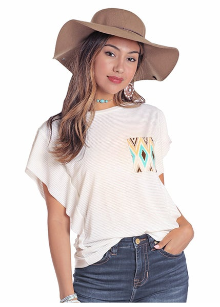 Panhandle Cream Stripe with Teal & Yellow Aztec  Pocket