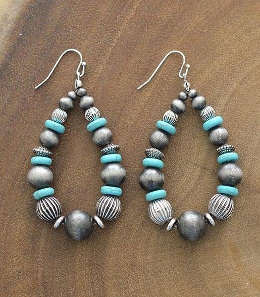 Navajo Pearl & Turquoise Bead Teardrop Earrings