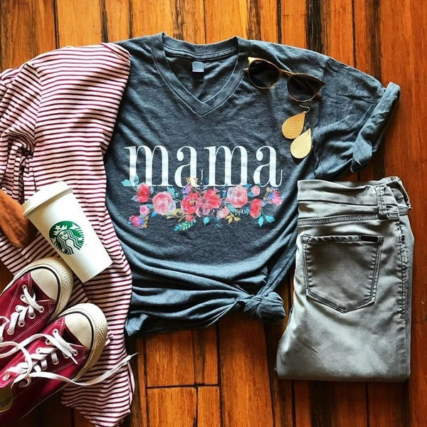 Mama Floral  V-NeckTee
