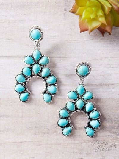 Giddy Up Squash Blossom Turquoise Earrings