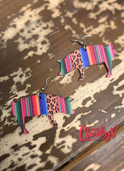 Cheekys Serape & Leopard Print Pig Wooden Earrings