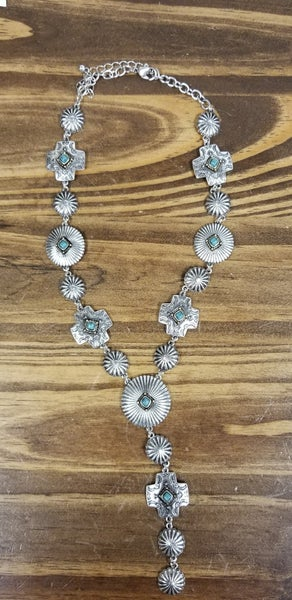 Turquoise & Silver Cross Concho Necklace