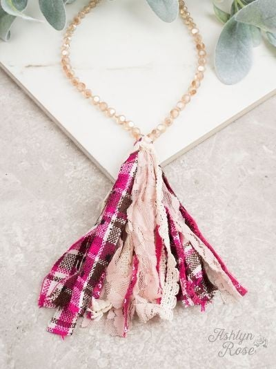Pleasantly Plaid Pink Tassel Necklace