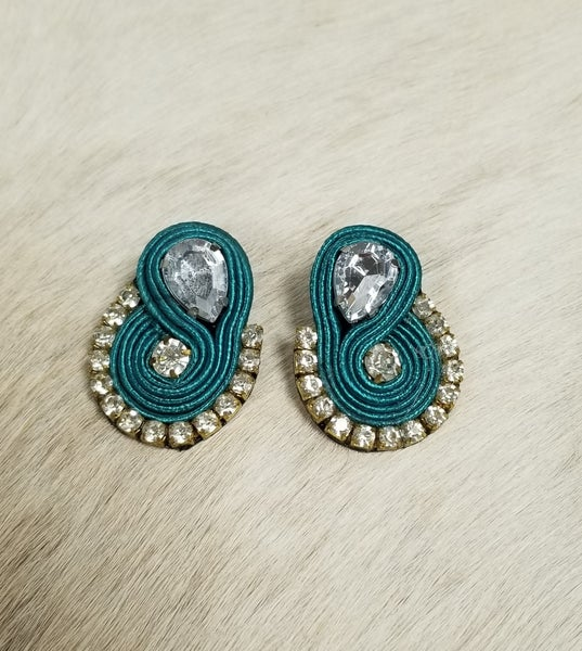 Crazy Train Country Bling Turquoise Earrings