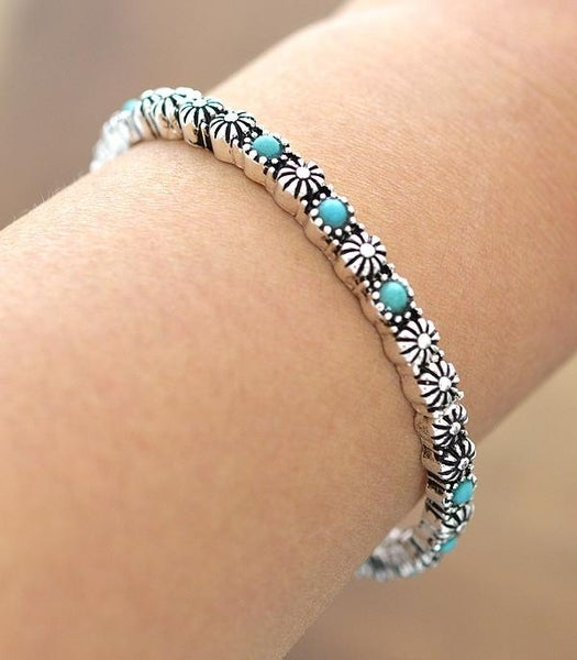 Turquoise Silver Stackable Bracelet