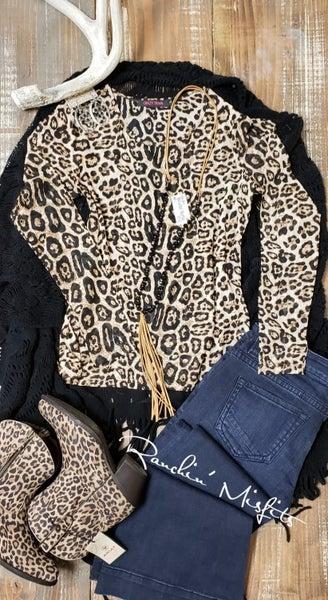 Crazy Train Mesh Long Sleeve Layering Leopard Top
