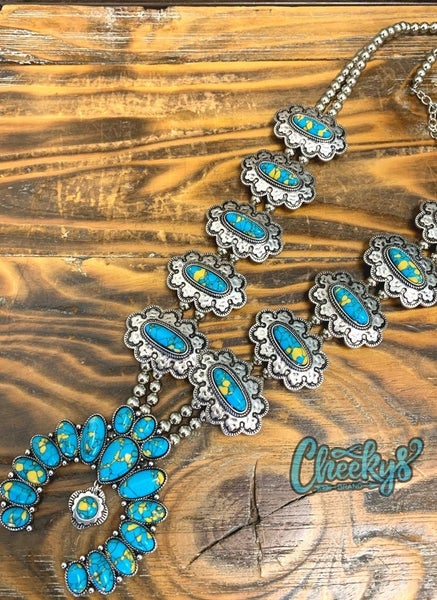 Cheekys Patsy Squash Blossom Turquoise with Silver Finish