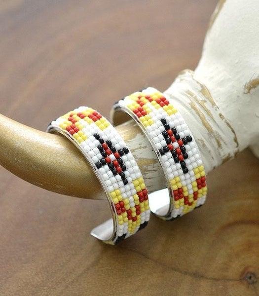 Seed Bead Navajo Hoop Earrings *2 Colors*