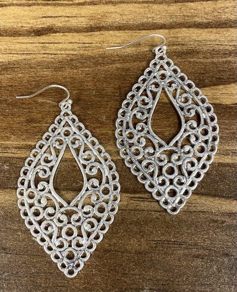 Clarissa Silver Scroll Earrings