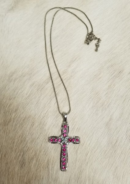 Girls Pink Stone Cross Necklace
