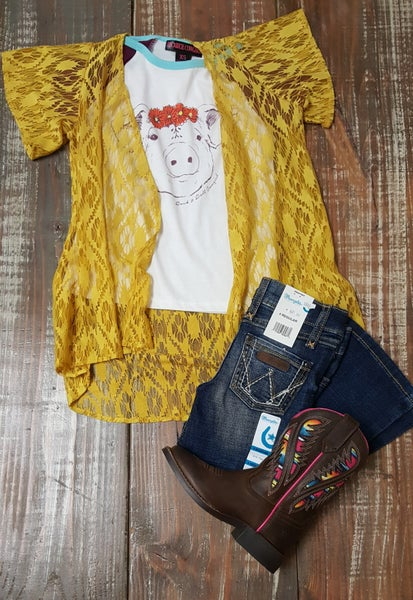 Crazy Train Kids Mustard Lace Duster