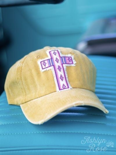 Aztec Cross Patch Distressed Hat*2 Colors*