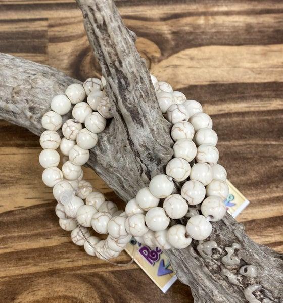 Ivory Stone Bead Stretch Bracelets