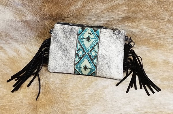 MW Hair-On Cowhide Leather Clutch/Crossbody with Fringe