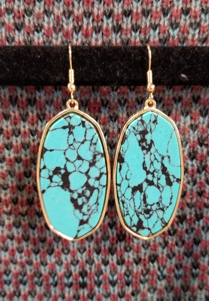 Marble Turquoise Oval Earrings