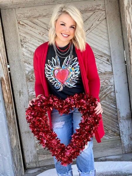 Texas True Cherry Red Cardigan
