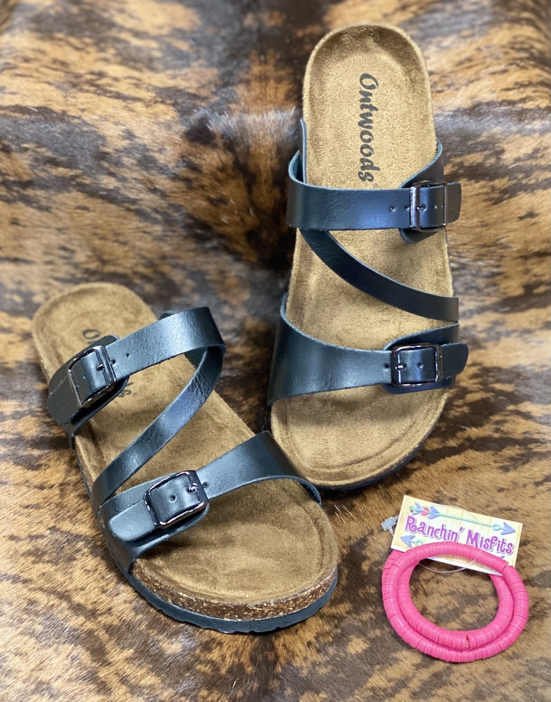 On The Patio Black Sandals