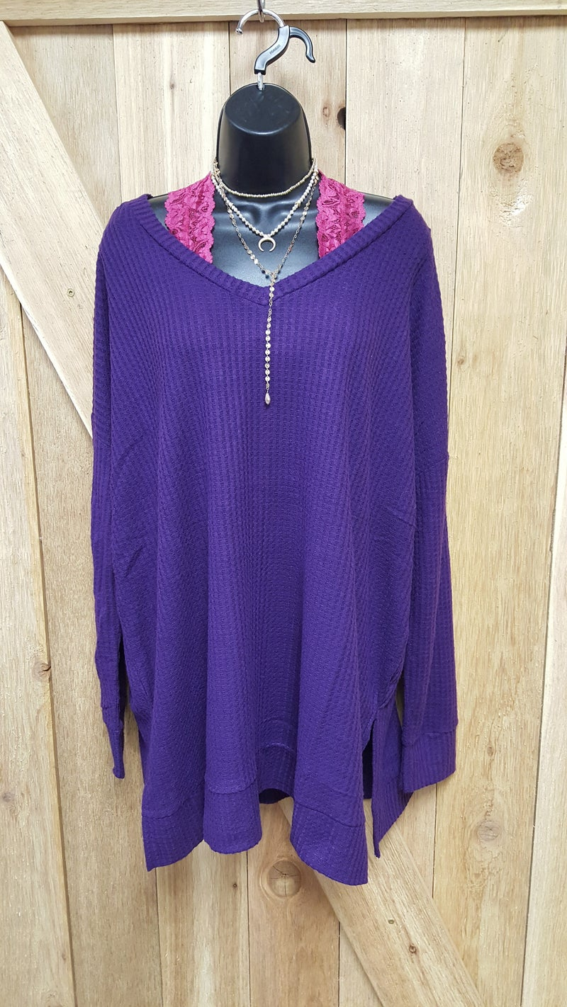 Brushed Waffle Top Sweater CURVY