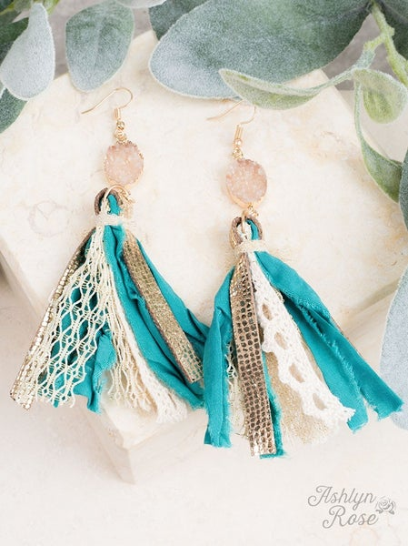 Teal Clearest Sky Tassel Earrings with Druzy Stone