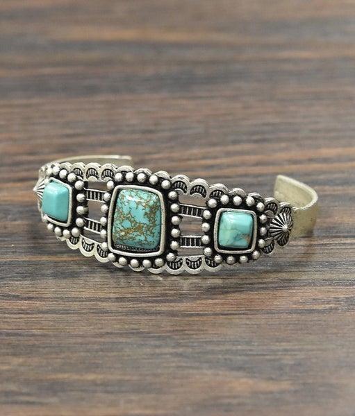 The Pagosa Tri Stone Turquoise Bracelet