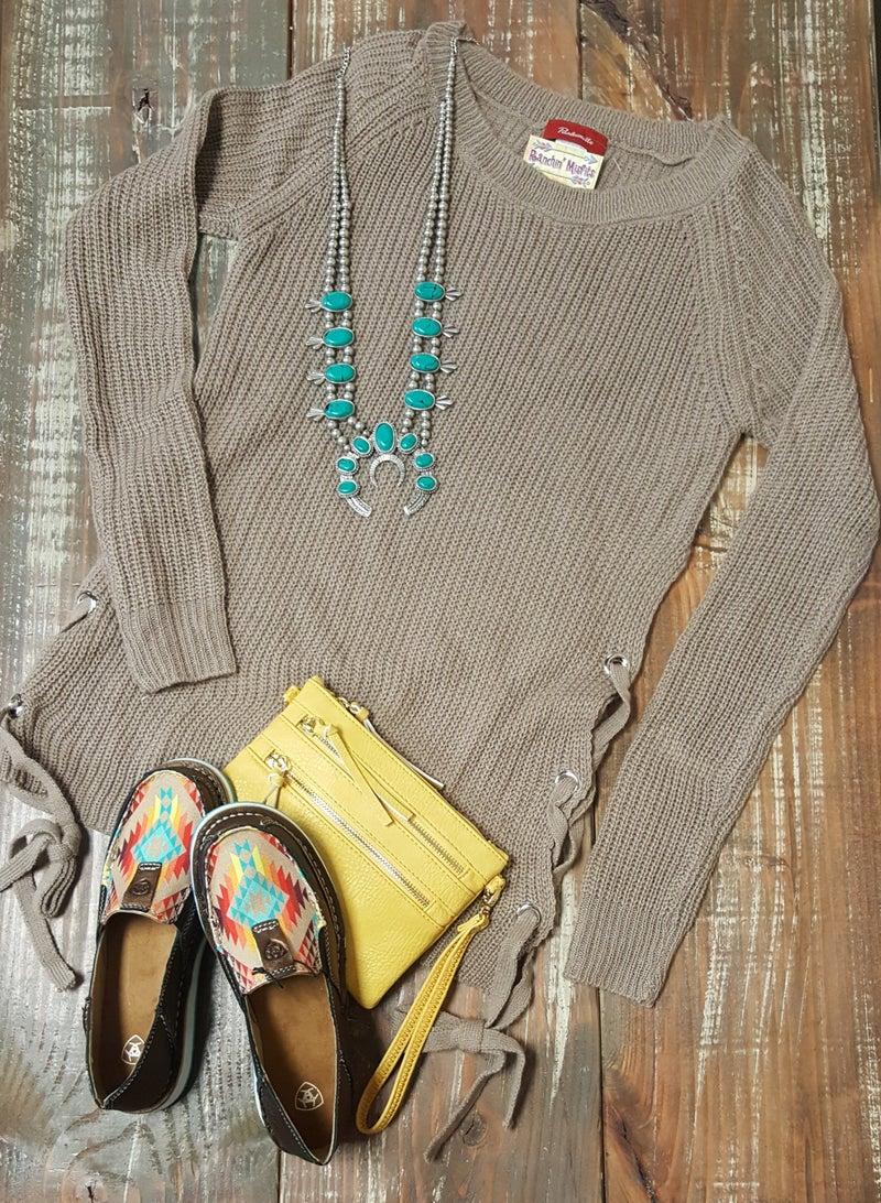 Panhandle Mocha Side Tie Sweater
