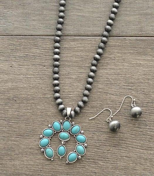 Squash Blossom Navajo Bead Necklace Set