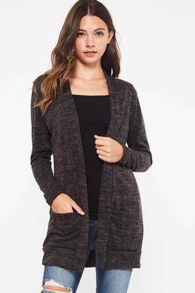 Heather Black Brushed Sweater Cardigan