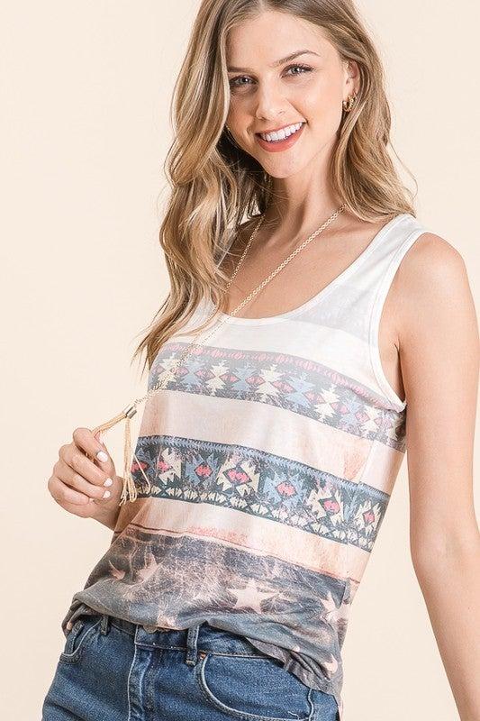 Arielle Aztec Print Sleeveless Rayon Top