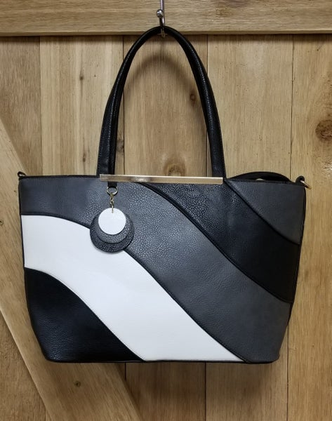 Charcoal Black and White Wave Handbag