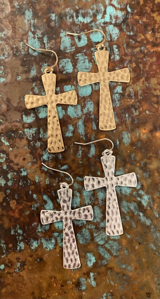 Hammered Cross Earrings *2 Colors*