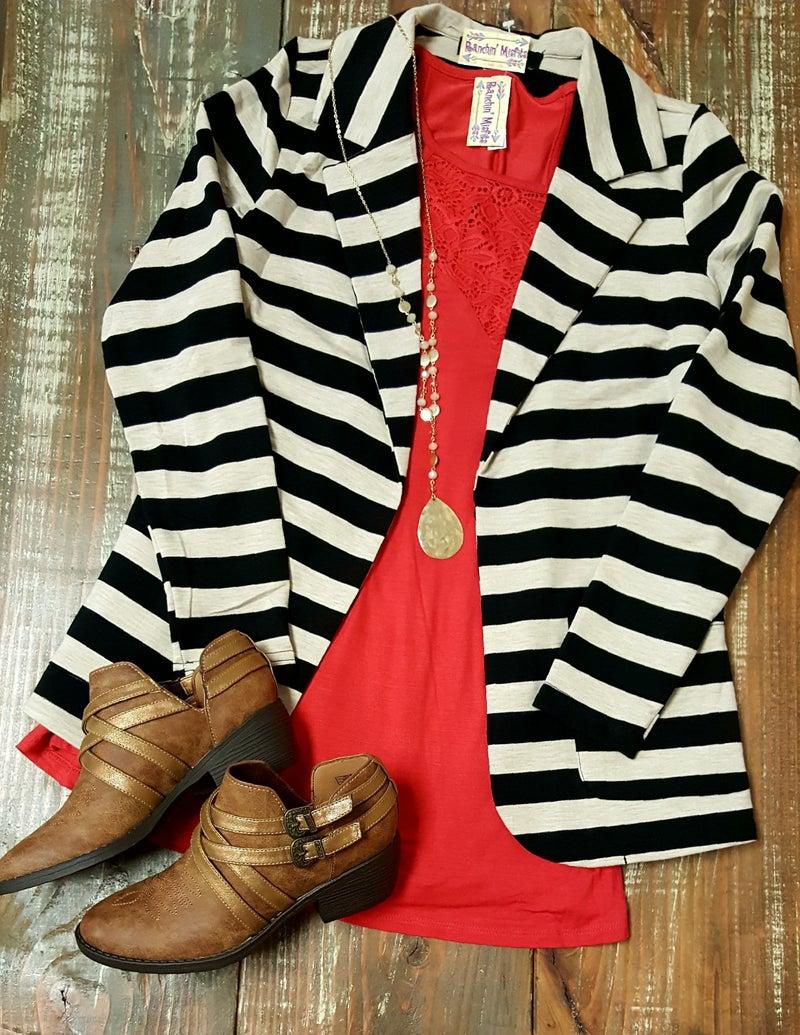 Black & Oatmeal Stripe Blazer