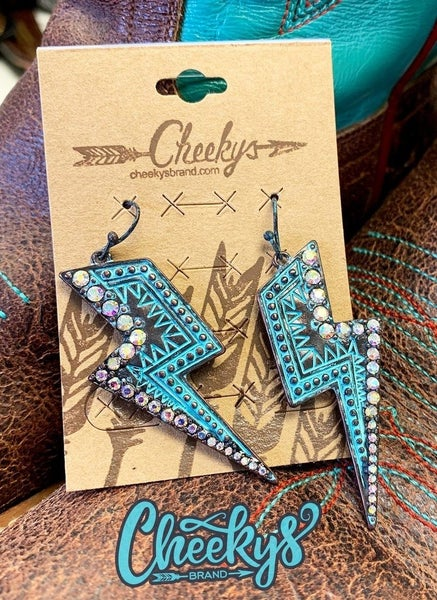 Cheeky's This Bolt Is On Point Patina Earrings