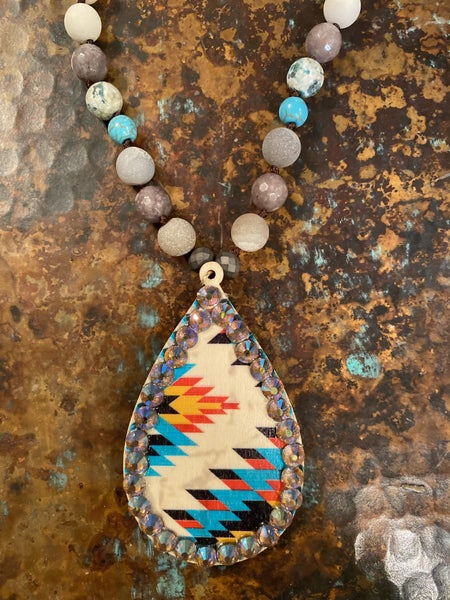 Shawnee Beaded Aztec Pendant Necklace