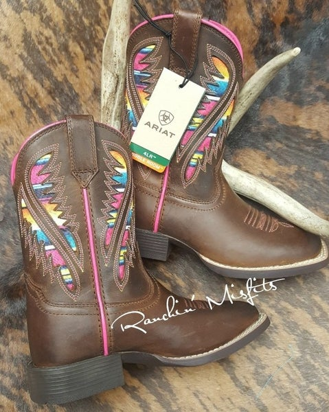 Ariat Youth Quickdraw Ventek Distressed Brown and Serape Boot